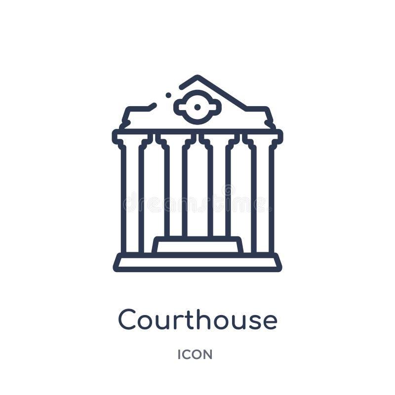 Ícone linear do tribunal da coleção do esboço do seguro Linha fina ícone do tribunal isolado no fundo branco tribunal ilustração royalty free
