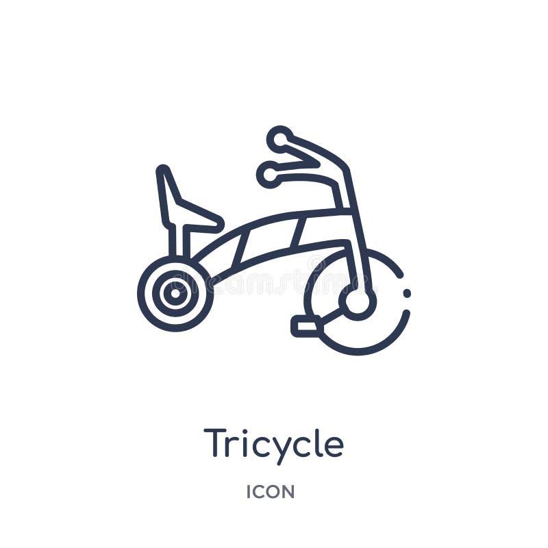 Ícone linear do triciclo da coleção do esboço da criança e do bebê Linha fina ícone do triciclo isolado no fundo branco triciclo  ilustração do vetor