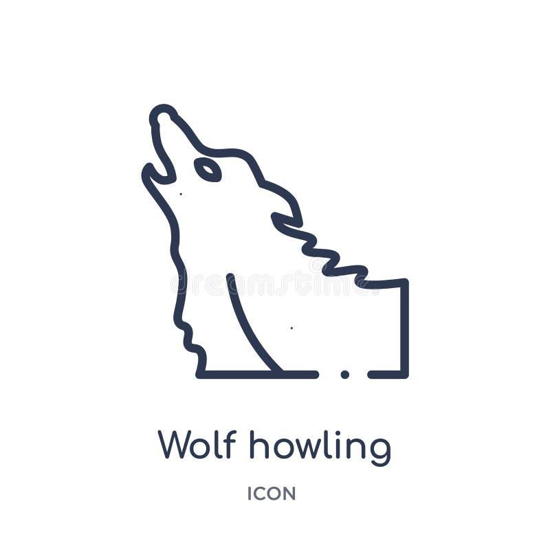 Ícone linear do urro do lobo da coleção do esboço geral Linha fina ícone do urro do lobo isolado no fundo branco Lobo que urra ilustração do vetor