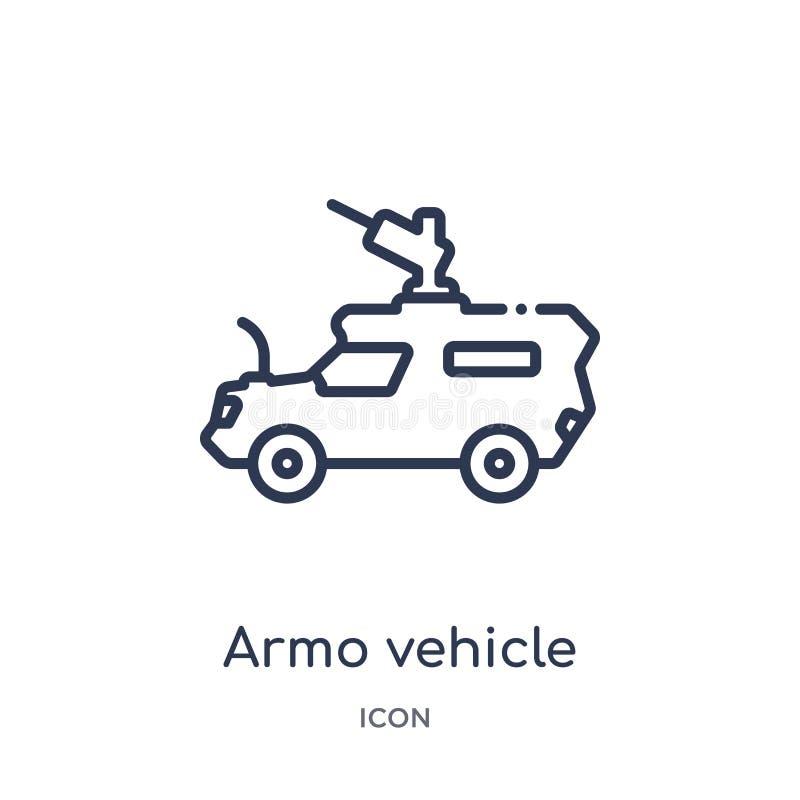 Ícone linear do veículo do armo da coleção do esboço do exército e da guerra Linha fina vetor do veículo do armo isolado no fundo ilustração do vetor