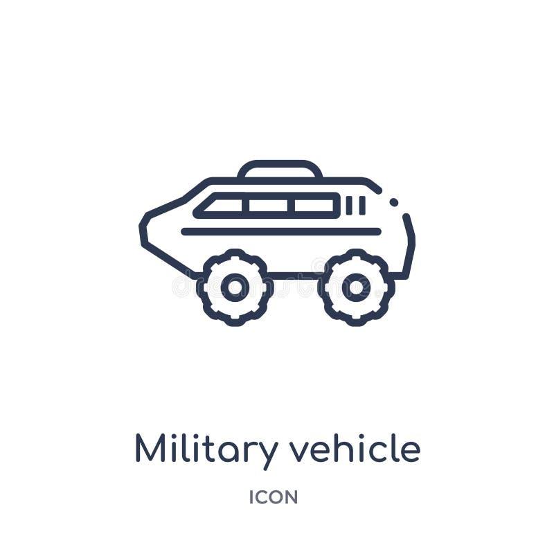 Ícone linear do veículo militar da coleção do esboço do exército Linha fina vetor do veículo militar isolado no fundo branco ilustração stock