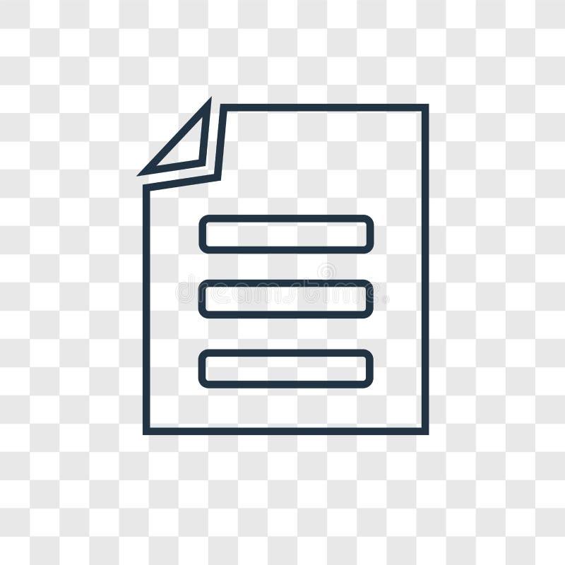 Ícone linear do vetor do conceito do arquivo isolado no backgrou transparente ilustração stock