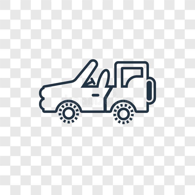 Ícone linear do vetor do conceito do carro do exército isolado na parte traseira transparente ilustração stock