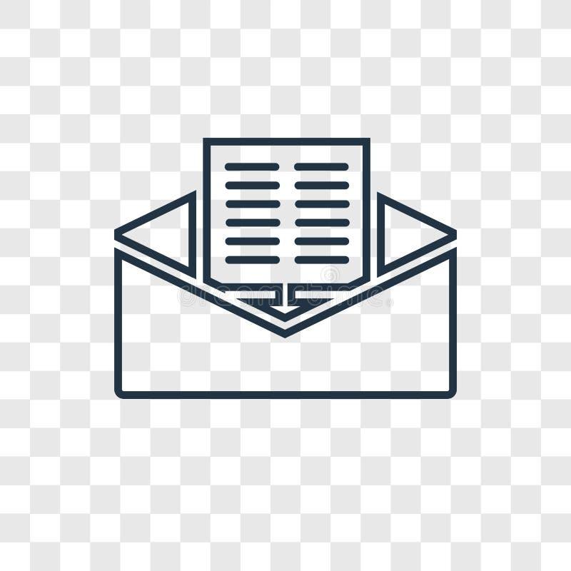 Ícone linear do vetor do conceito do correio isolado no backgrou transparente ilustração royalty free