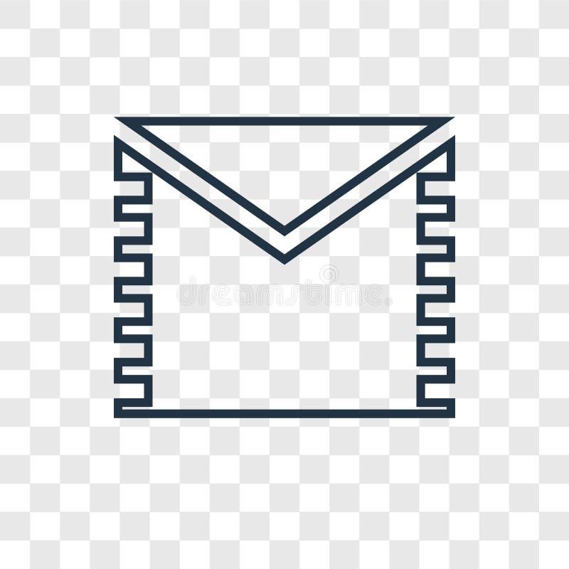 Ícone linear do vetor do conceito do correio isolado no backgrou transparente ilustração do vetor
