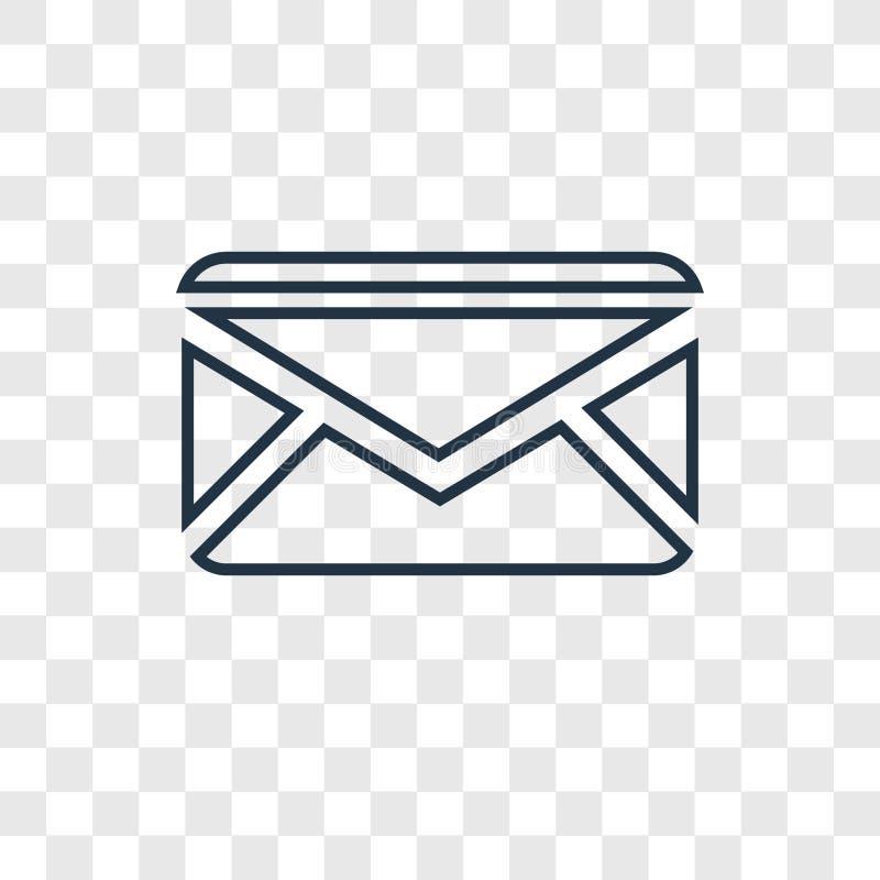 Ícone linear do vetor do conceito do correio isolado no backgrou transparente ilustração stock