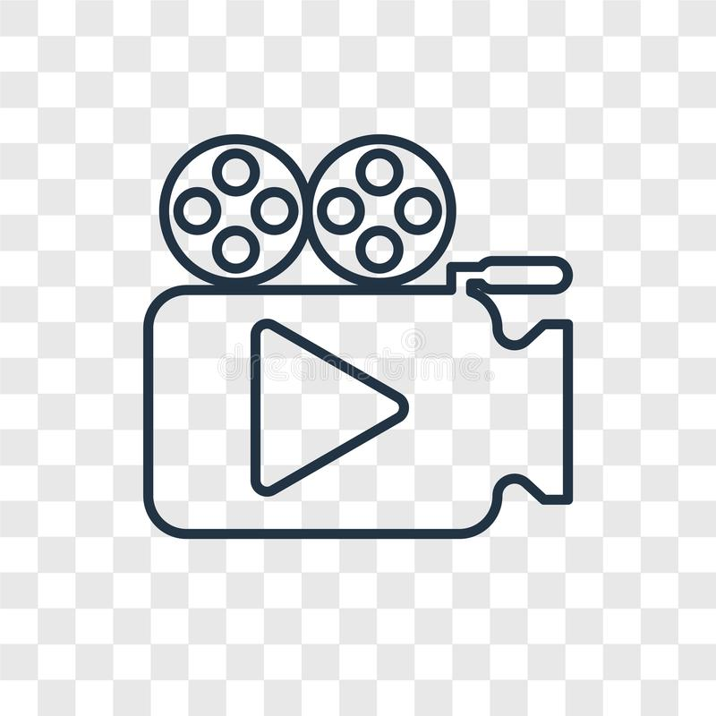 Ícone linear do vetor do conceito da câmara de vídeo isolado em transparente ilustração royalty free