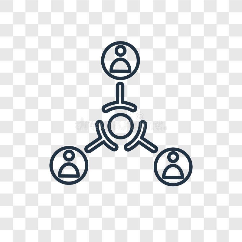 Ícone linear do vetor do conceito da estrutura hierárquica isolado no tr ilustração do vetor
