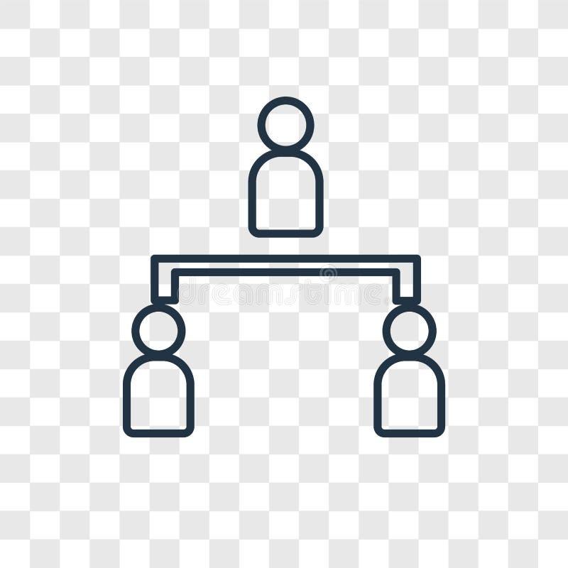 Ícone linear do vetor do conceito da estrutura hierárquica isolado no tr ilustração stock