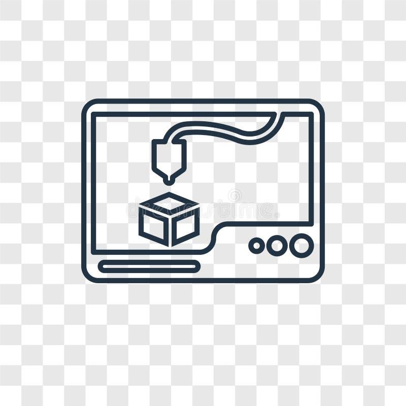 ícone linear do vetor do conceito da impressora 3d em vagabundos transparentes ilustração do vetor