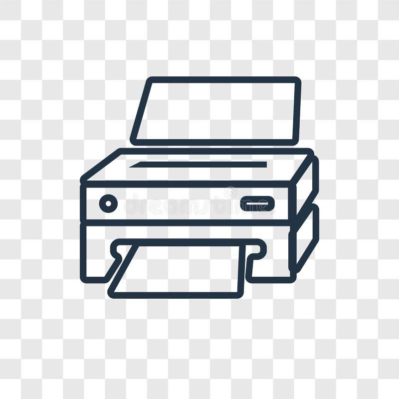 Ícone linear do vetor do conceito da impressora isolado no backg transparente ilustração royalty free