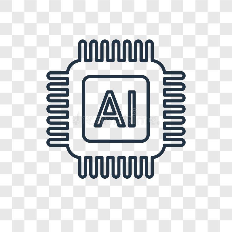 Ícone linear do vetor do conceito da inteligência artificial isolado em t ilustração do vetor