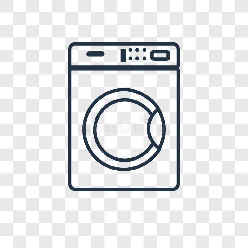 Ícone linear do vetor do conceito da máquina de lavar isolado no transpare ilustração royalty free