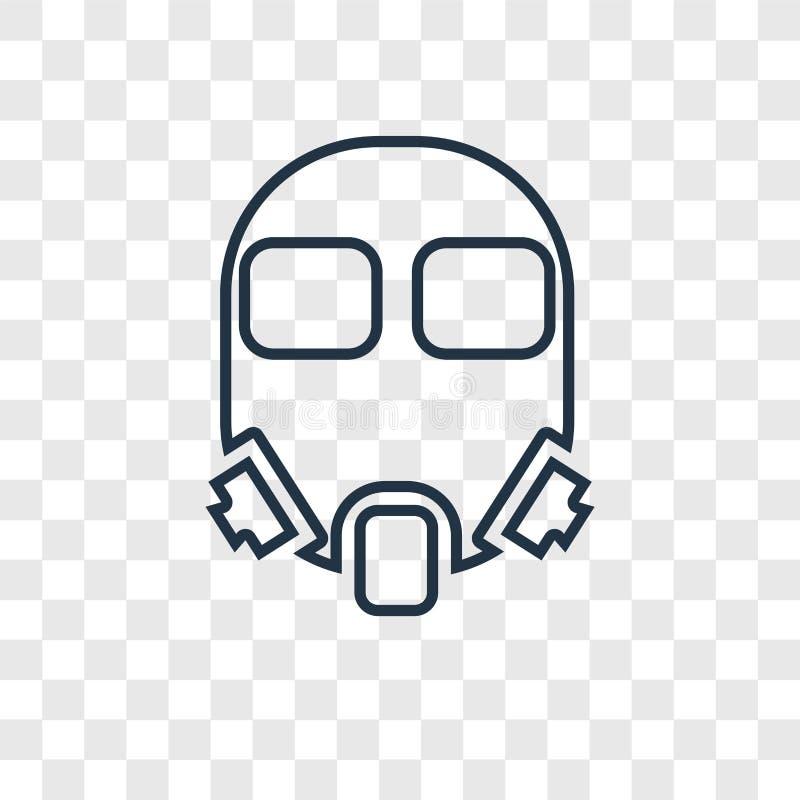 Ícone linear do vetor do conceito da máscara de gás isolado na parte traseira transparente ilustração do vetor