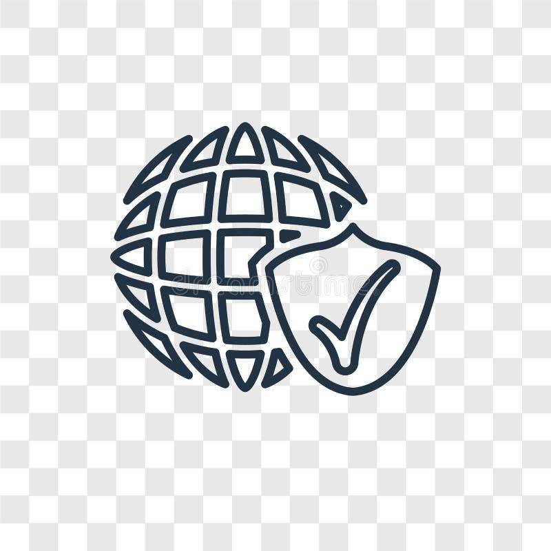 Ícone linear do vetor do conceito da segurança do Internet isolado no transpa ilustração do vetor