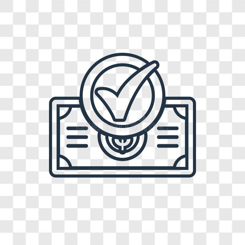 Ícone linear do vetor do conceito da verificação isolado no backgro transparente ilustração do vetor