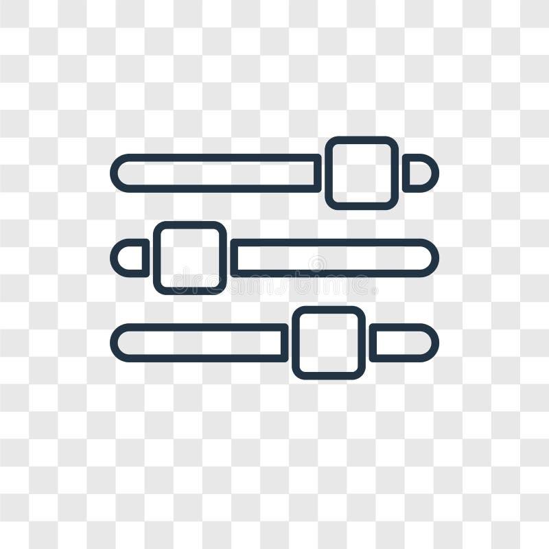 Ícone linear do vetor do conceito das barras dos ajustes isolado em transparente ilustração royalty free