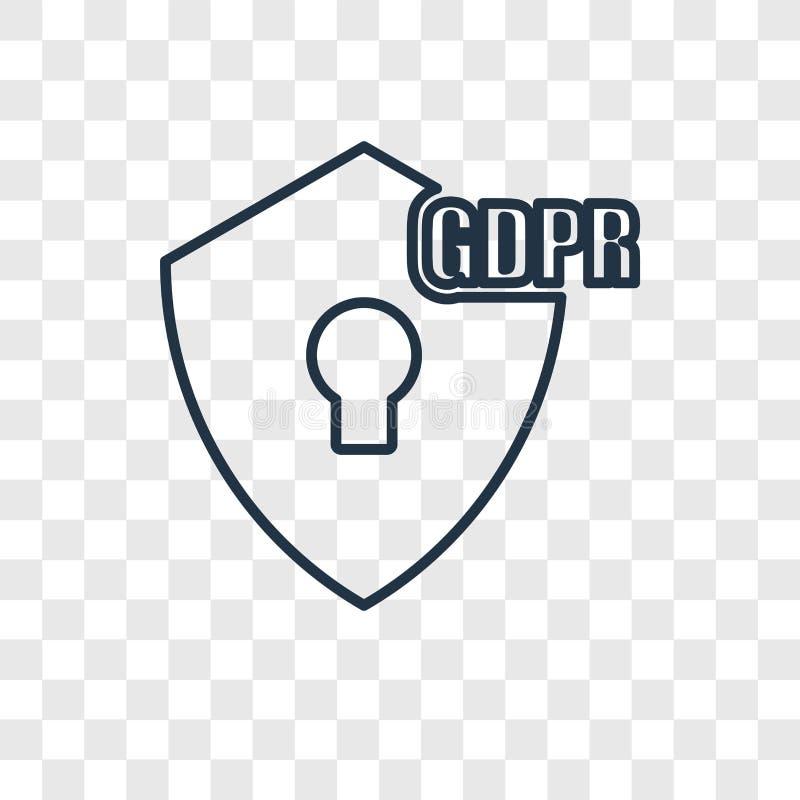 Ícone linear do vetor do conceito de GDPR isolado no backgrou transparente ilustração royalty free