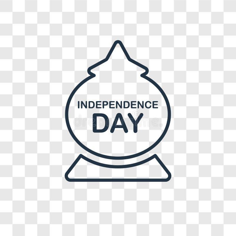 Ícone linear do vetor do conceito do Dia da Independência isolado em transpar ilustração royalty free