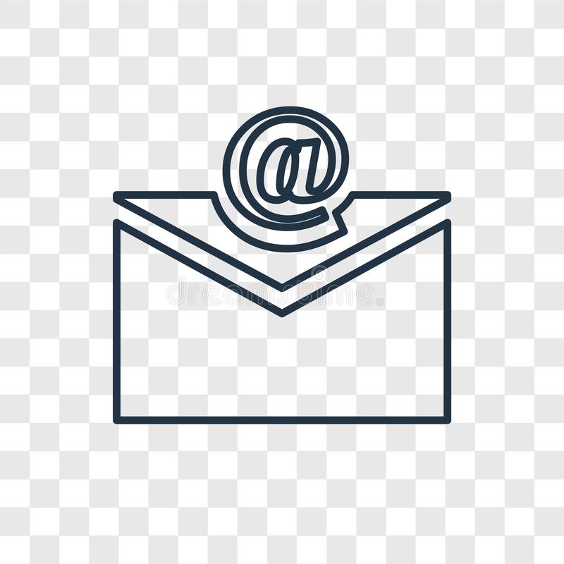 Ícone linear do vetor do conceito do e-mail isolado no backgro transparente ilustração do vetor