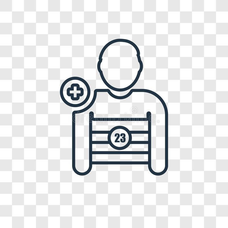 Ícone linear do vetor do conceito do jogador de futebol isolado em transparente ilustração stock