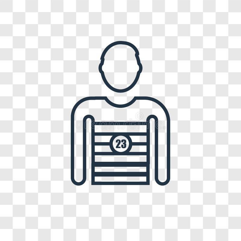 Ícone linear do vetor do conceito do jogador de futebol isolado em transparente ilustração do vetor