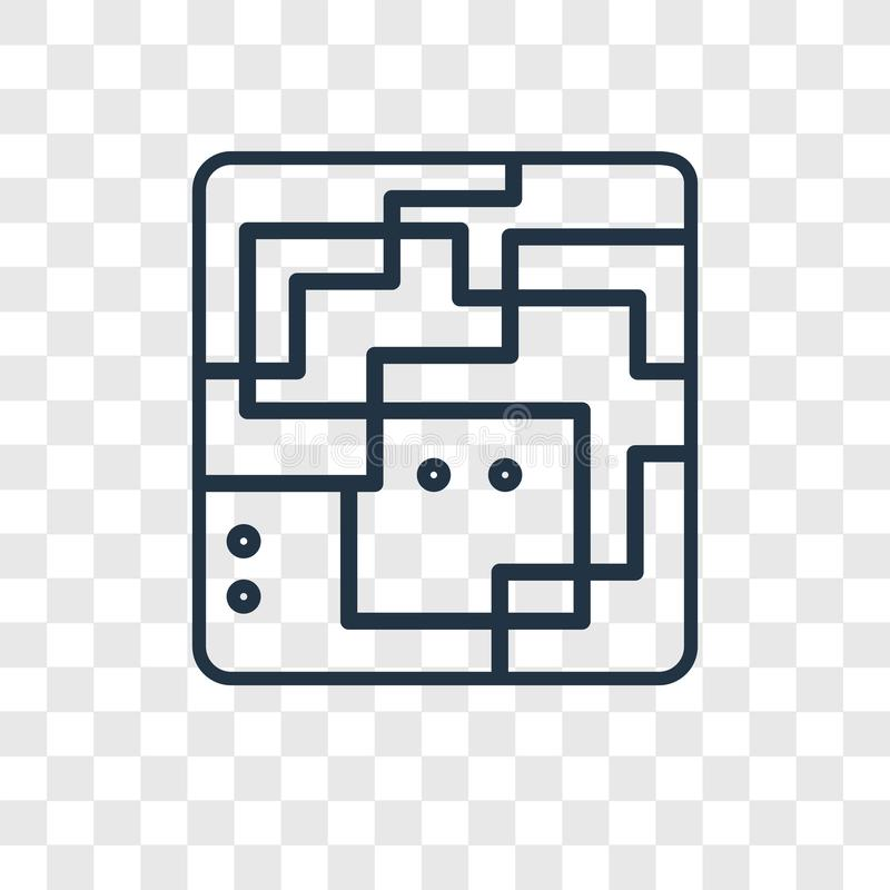 Ícone linear do vetor do conceito do labirinto isolado no backgrou transparente ilustração stock