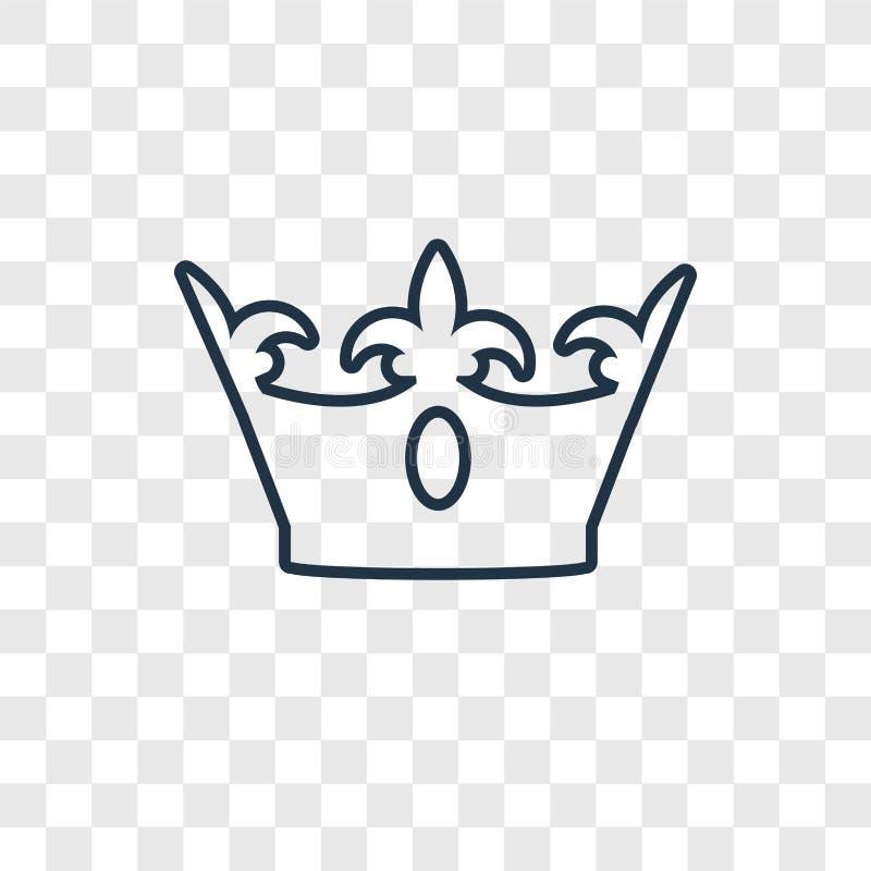 Ícone linear do vetor do conceito do rei isolado no backgrou transparente ilustração royalty free