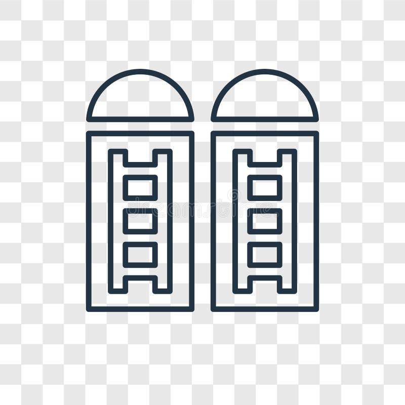 Ícone linear do vetor do conceito do silo isolado no backgrou transparente ilustração stock
