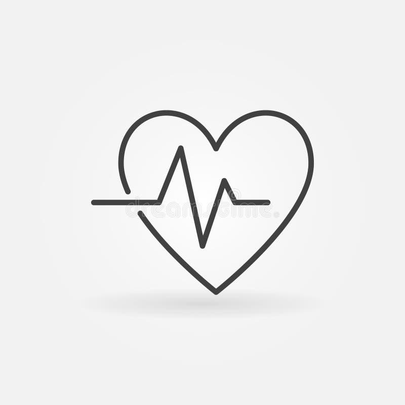 Ícone linear do vetor da pulsação do coração - vector o símbolo do pulso do batimento cardíaco ilustração do vetor