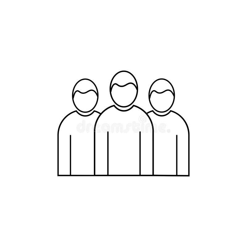 Ícone linear do vetor do grupo da equipe ilustração stock