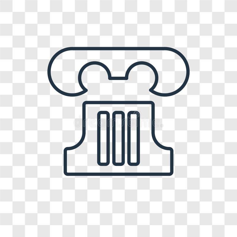 Ícone linear do vetor grego do conceito da coluna em transparente ilustração stock