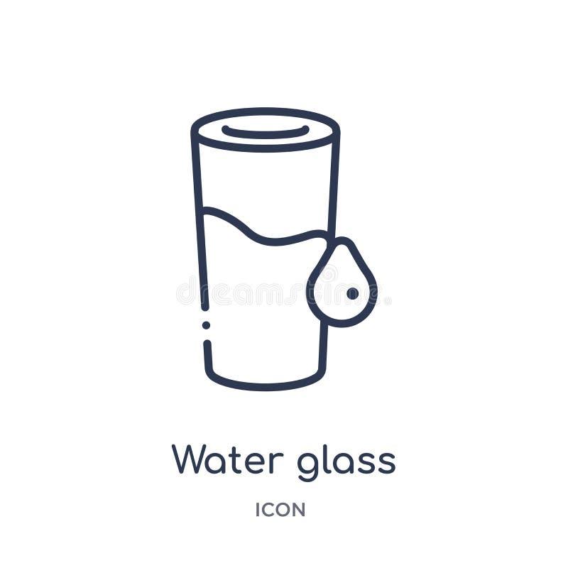 Ícone linear do vidro de água da coleção do esboço do alimento Linha fina ícone do vidro de água isolado no fundo branco vidro de ilustração do vetor