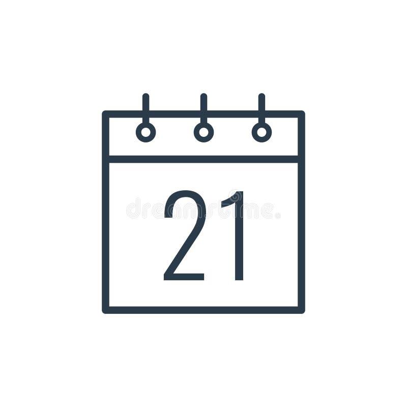 Ícone linear do Vinte-primeiro dia do calendário ilustração stock