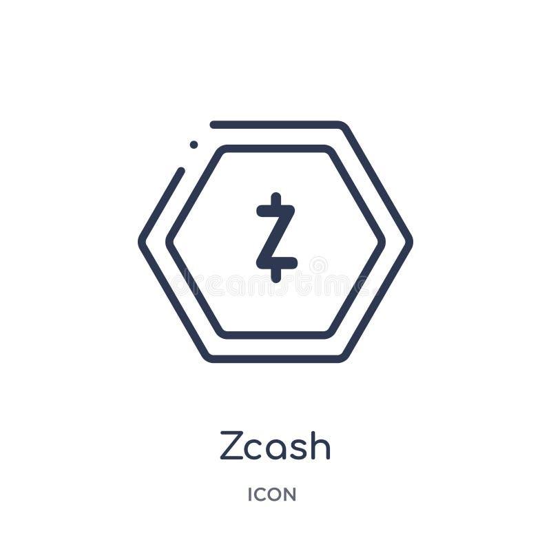 Ícone linear do zcash da economia de Cryptocurrency e da coleção do esboço da finança Linha fina vetor do zcash isolado no fundo  ilustração stock