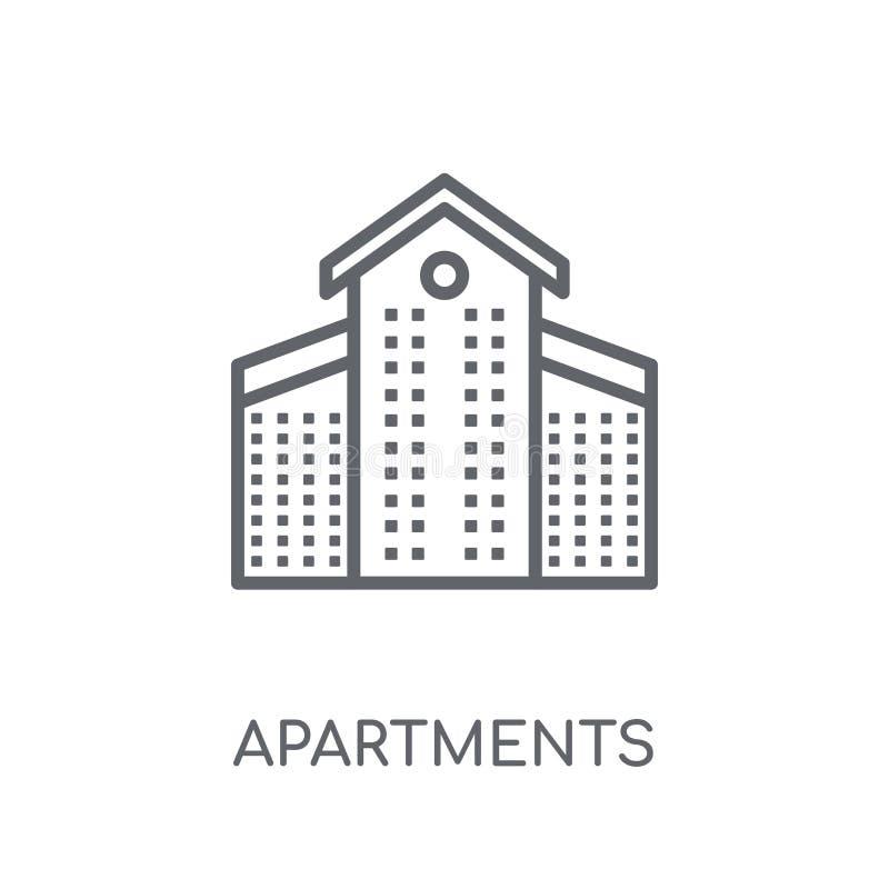 Ícone linear dos apartamentos Conceito moderno o do logotipo dos apartamentos do esboço ilustração stock