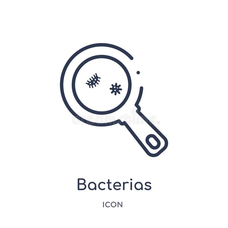 Ícone linear dos bacterias da coleção médica do esboço Linha fina ícone dos bacterias isolado no fundo branco bacterias na moda ilustração stock
