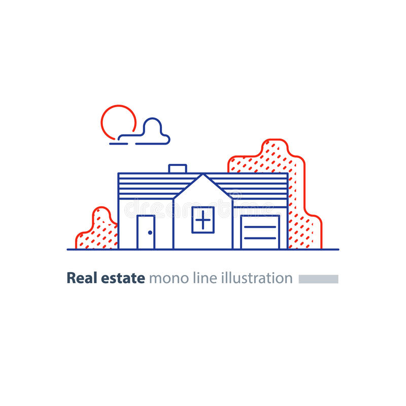 Ícone linear dos bens imobiliários, baixa propriedade de casa, conceito da vizinhança ilustração royalty free
