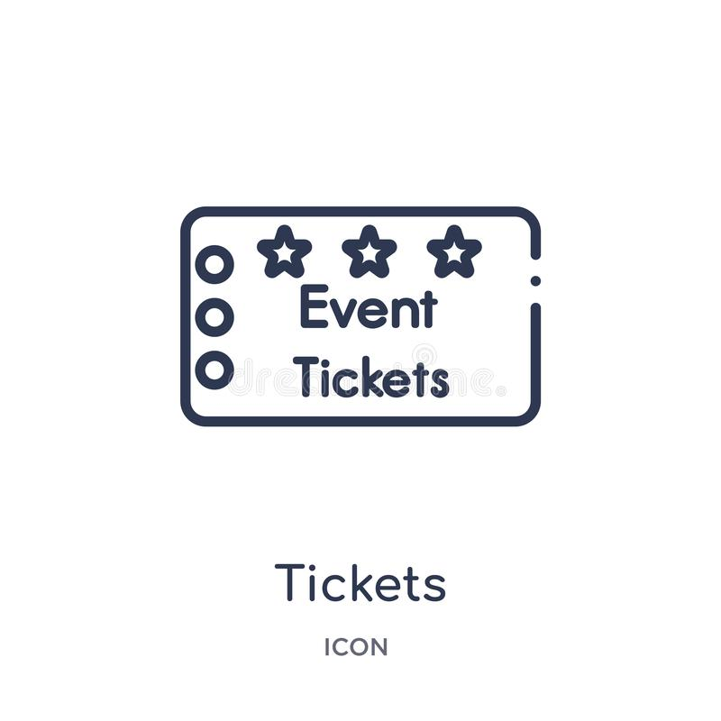 Ícone linear dos bilhetes da coleção do esboço do cinema Linha fina vetor dos bilhetes isolado no fundo branco bilhetes na moda ilustração do vetor