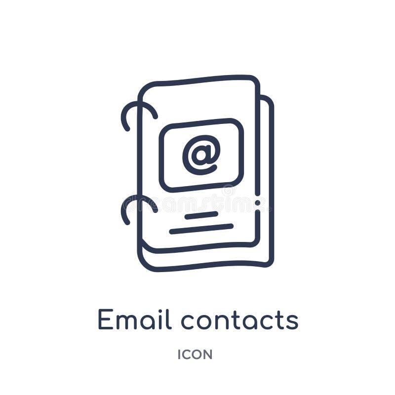 Ícone linear dos contatos do e-mail da coleção do esboço do negócio Linha fina ícone dos contatos do e-mail isolado no fundo bran ilustração royalty free
