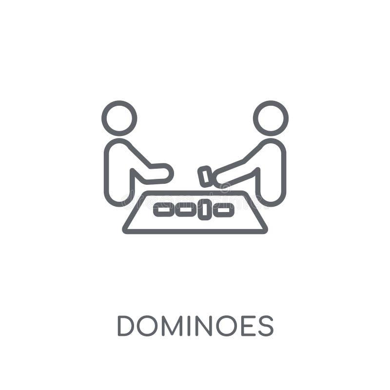 Ícone linear dos dominós Conceito moderno do logotipo dos dominós do esboço no wh ilustração do vetor