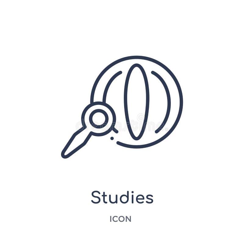 Ícone linear dos estudos da coleção do esboço da educação Linha fina ícone dos estudos isolado no fundo branco estudos na moda ilustração royalty free