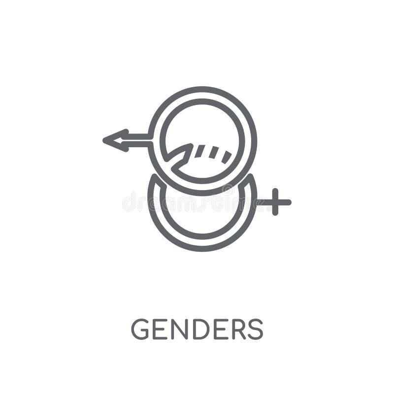 Ícone linear dos gêneros Conceito moderno do logotipo dos gêneros do esboço no whit ilustração do vetor