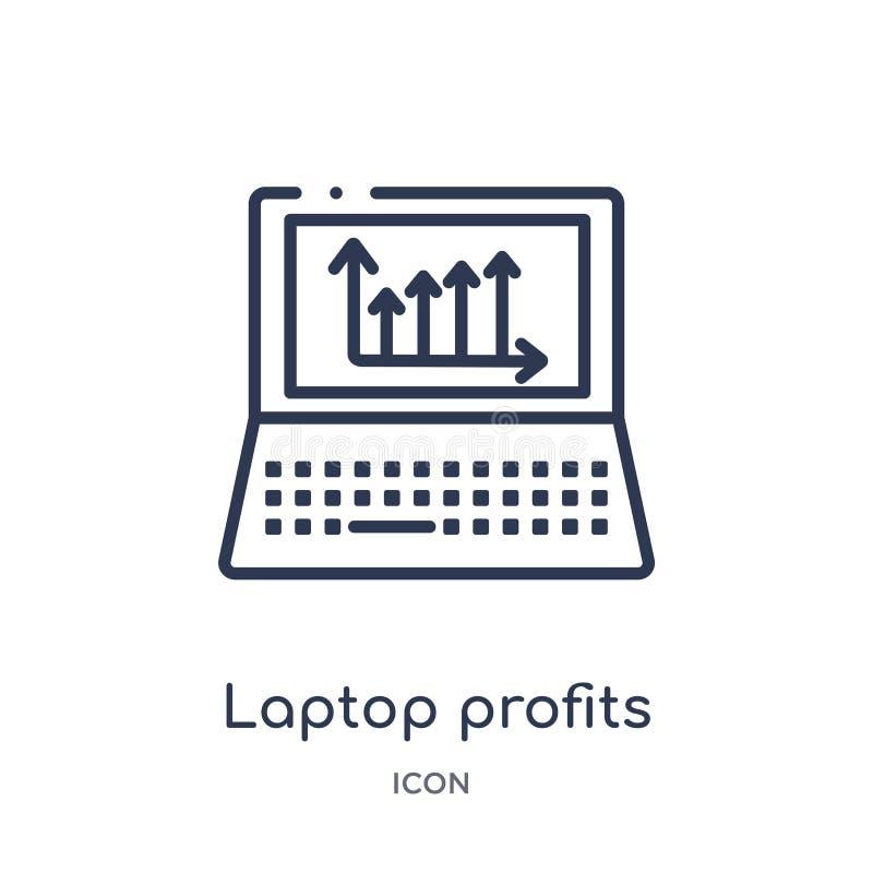Ícone linear dos gráficos dos lucros do portátil da coleção do esboço do negócio e da analítica Linha fina vetor dos gráficos dos ilustração stock