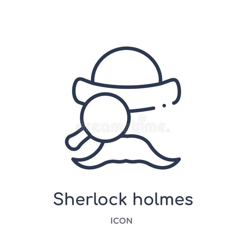 Ícone linear dos holmes do sherlock da coleção do esboço da educação Linha fina vetor dos holmes do sherlock isolado no fundo bra ilustração stock