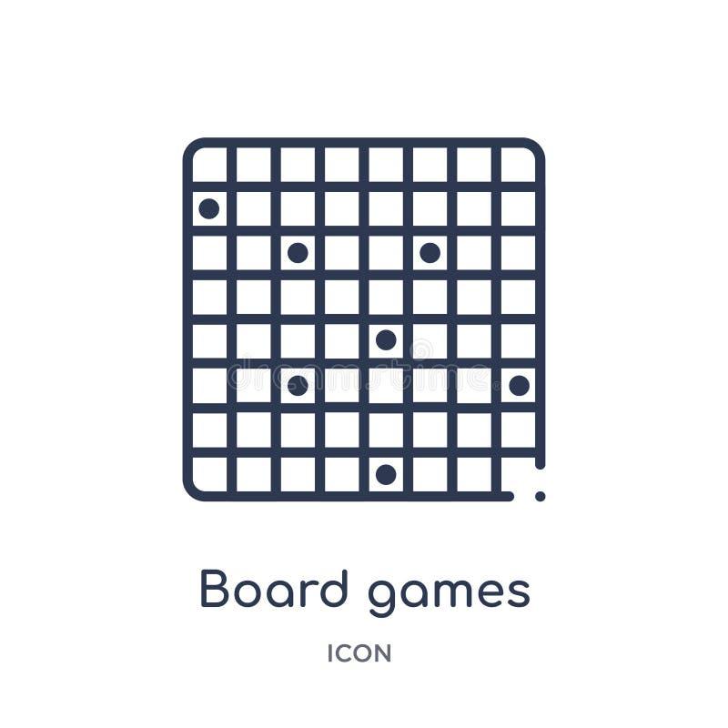 Ícone linear dos jogos de mesa do entretenimento e da coleção do esboço da arcada Linha fina vetor dos jogos de mesa isolado no b ilustração do vetor