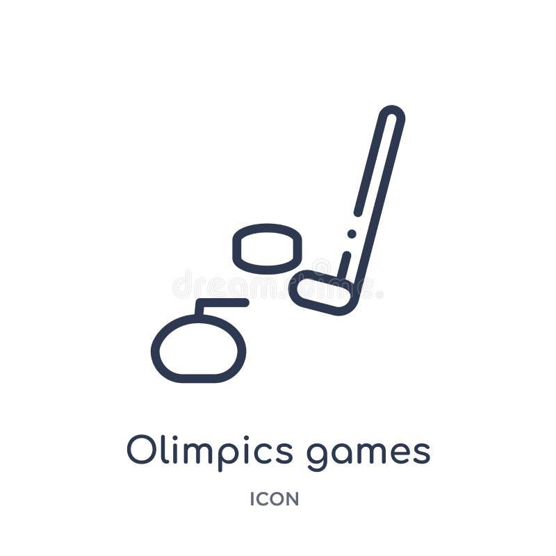 Ícone linear dos jogos do olimpics da coleção do esboço da saúde Linha fina ícone dos jogos do olimpics isolado no fundo branco o ilustração stock