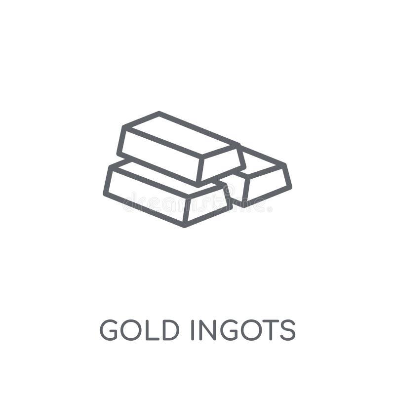 Ícone linear dos lingotes do ouro Conceito moderno do logotipo dos lingotes do ouro do esboço ilustração royalty free