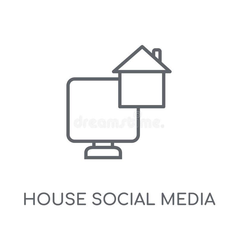 Ícone linear dos meios sociais da casa Medi social da casa moderna do esboço ilustração royalty free