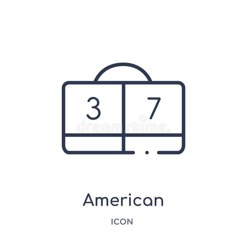 Ícone linear dos números das contagens de futebol americano da coleção do esboço do futebol americano Linha fina números das cont ilustração royalty free